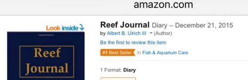 Screenshot from Amazon.com that shows Reef Journal # 1 Best Seller